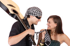 Handsome young male and female musicians Royalty Free Stock Photo