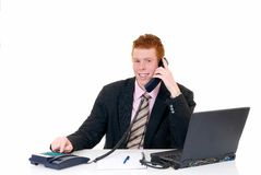 Handsome young male secretary Stock Photo