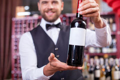 Handsome young male sommelier in liquor store Royalty Free Stock Image