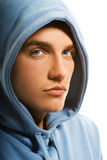 Handsome young man. In a hood Stock Photography