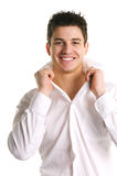Handsome Young Man. Attractive Young Brunette Male on a white background Stock Image