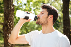 Handsome young man athlete drinking water in forest Stock Images