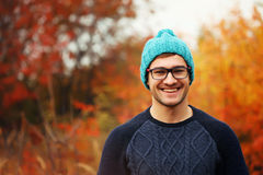 Handsome young man. Autumn portrait Royalty Free Stock Photos