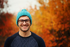 Handsome young man. Autumn portrait Royalty Free Stock Image