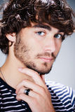 Handsome young man with beard Stock Images