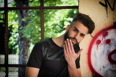 Handsome young man with beard Royalty Free Stock Photography