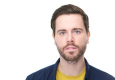Handsome young man with beard looking at camera royalty free stock photography