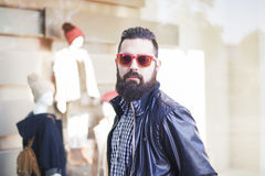 Handsome young man with beard royalty free stock images