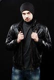 Handsome young man in black leather jacket Royalty Free Stock Images