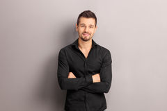 Handsome young man in a black shirt Stock Photography