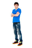 Handsome young man in blue t-shirt Stock Image