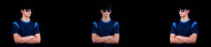 Handsome young man with cap and sunglasses - a collage of myster Royalty Free Stock Photography