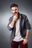Handsome young man in casual outfit. Studio shot Stock Images