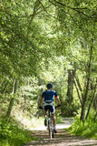 Handsome young man cycling in the mountain. Royalty Free Stock Image