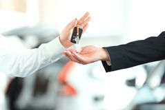 Handsome young man in dealership Stock Image