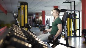 Handsome young man doing dumbbell exercises in gym, building muscular body. Stock footage stock footage