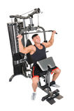 Handsome young man doing lateral pull-down workout isolated on white Stock Photography