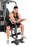 Handsome young man doing lateral pull-down workout isolated on white Royalty Free Stock Photo