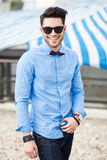 Handsome young man dressed casual - outdoor Royalty Free Stock Photography