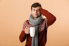 Handsome young man dressed in sweater and scarf. Drinking tea from a cup isolated over beige background royalty free stock image