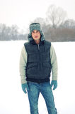 Handsome young man enjoying himself in winter Royalty Free Stock Photo