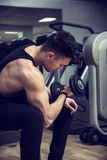 Handsome young man exercising biceps in gym. Handsome muscular young man exercising biceps in gym with dumbbells Royalty Free Stock Photo