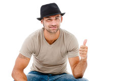 A handsome young man giving you the thumbs up Royalty Free Stock Photo
