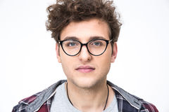 Handsome young man in glasses Stock Photos