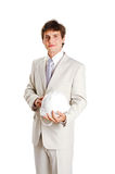 Handsome young man with hardhat on white Stock Images