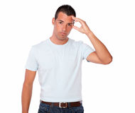 Handsome young man with head pain Royalty Free Stock Images