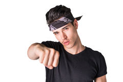 Handsome young man with headband, throwing punch Stock Photos