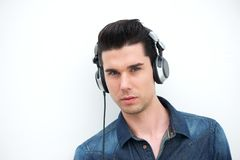 Handsome young man with headphones Royalty Free Stock Photos