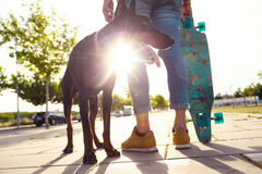 Handsome young man with his dog skateboarding in the park. Stock Photography