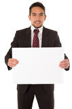 Handsome young man holding a blank board Stock Photos