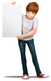 A handsome young man holding an empty signboard Stock Image