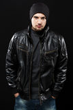 Handsome Young Man In Black Leather Jacket Stock Image