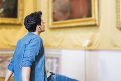 Handsome Young Man Inside a Museum Royalty Free Stock Photography