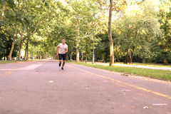 A handsome young man jogging in a park Royalty Free Stock Photos