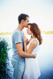 Handsome young man kissing his girlfriend Royalty Free Stock Photography