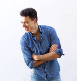 Handsome young man laughing Stock Photo