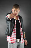 Handsome Young Man in leather jacket Royalty Free Stock Photography