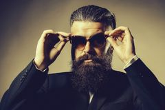 Bearded handsome man in sunglasses royalty free stock photos