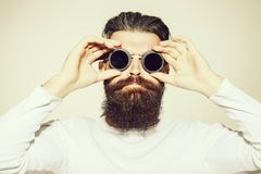 Bearded man in pilot glasses stock photos