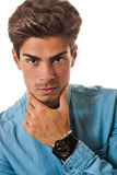 Handsome young man model. Confident hairstyle. On white Royalty Free Stock Photo