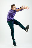 Handsome young man model jumping Stock Photo