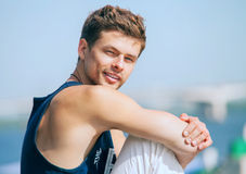 Handsome young man outdoor portrait Stock Photography