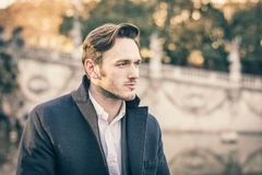 Handsome young man outdoor in winter fashion Royalty Free Stock Photo