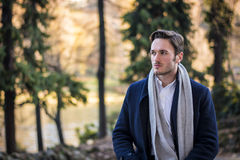 Handsome young man outdoor in winter fashion Stock Image