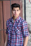 Handsome young man outdoors in downtown Stock Photography
