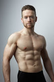 Handsome young man with perfect muscule body posing. Stock Photography